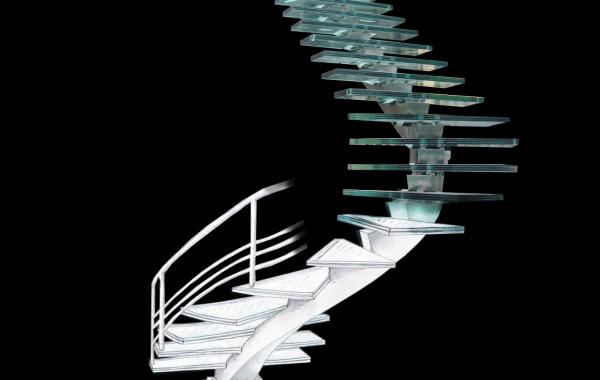 Escada em Inox e Vidro FNAC